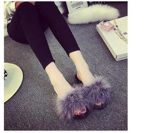 Harga Women's Fur Fluffy Slippers Slides Mules Sandals Feather Home Open Toe Shoes grey