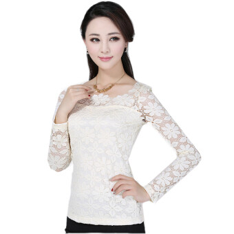 Harga New Women Fashion Lace Crochet Blouse Long-sleeved Lace Tops Plus Size M-5XL Cream