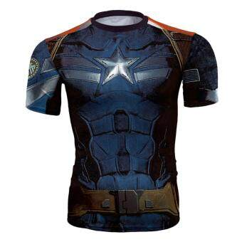 Harga Men's T-shirts Movie Captain America Graphic Tee Shirts Compression Crew Neck Muscle t shirt Workout Shirts Fitted Polyester Active Shirt