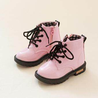 Harga Ai Home Baby Martin Boots Lace Up Boots Kids Children's Casual Sports Shoes (Pink)