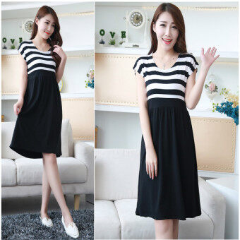 Harga Women Long Maternity Dresses for Pregnant Women Loose Clothing Maternity Fashion Stripe Home Cotton Mother Clothes (Black)