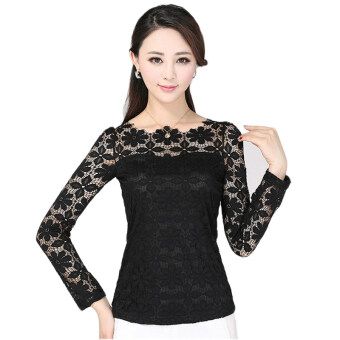 Harga New Women Fashion Lace Crochet Blouse Long-sleeved Lace Tops Plus Size M-5XL Black