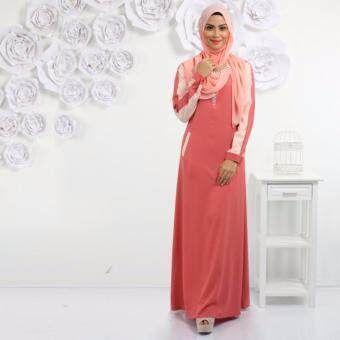 Harga Haniya Mix Color Front Zip Jubah With Welt Pockets Design (Dark Peach)