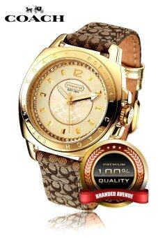 Harga Coach Leather Strap Watch Gold 14501287