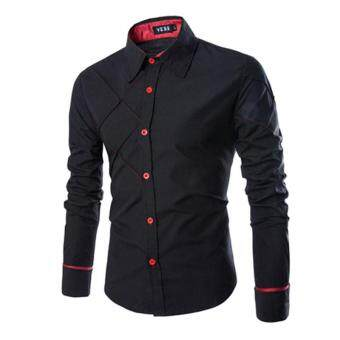 Harga Men's Cotton Long Sleeve Slim Fit Button Down Easy-care Shirt Checked Style Male Causal Shirt Clothing Plus Size