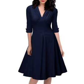 Harga Women Dress New Fall Three Quarter Vintage Solid Stretchy Deep V-Neck Empire Waist Button Cotton Acrylic Ball Gown Part Dresses Deep Blue S-XXL