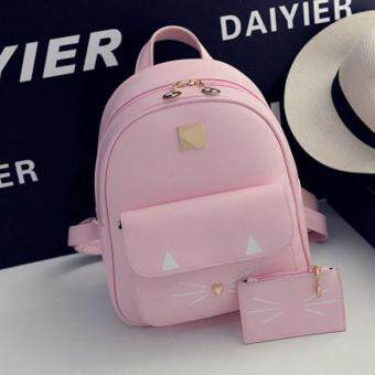 Harga College style kitten printing wild fashion shoulder bag elegant lady exquisite car suture backpack-Pink