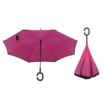 Harga 4CONNECT High Quality Unique Inverted Inside-Out Umbrella With C-Hook Handle - ROSE RED