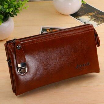 Harga Men's Wallet Zipper Casual Purse Korean Business Hand Bag Youth Large Capacity Clutch (Red)