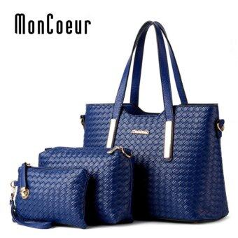 Harga MonCoeur 1001 Set of 3 in 1 Woman Premium PU leather Handbag (Blue)