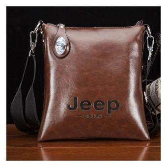 Harga Jeep Korean fashion Leather Crossbody Bag Shoulder Bag Men Tote Bag Business Casual Messenger Bag (Brown)