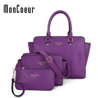 Harga MonCoeur C03 Set of 3 in 1 Woman PU leather Handbag (Purple)
