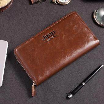 Harga Men Leather Wallet Classic Vintage Dark Coffee PU Leather Cattle Two Layer of Lichi Grain High Quality Coin Purse Card Slot Cowboy Zipper Wallet