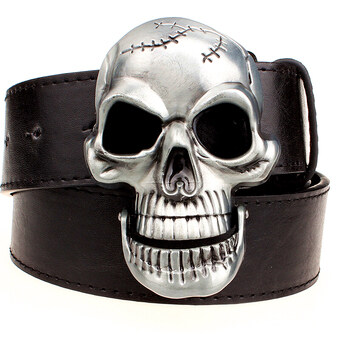 Harga Exaggeration men's belt Big skull belt metal buckle skull belts Skeleton men punk rock belt performance hip hop girdle