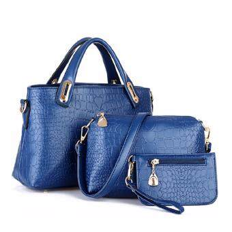 Harga Reverie set of 3 Faux Crocodile Leather Handbag(Navy Blue)
