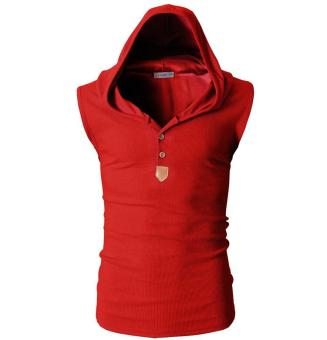 Harga Men's Waistcoat Korean Style Male Casual Cotton Sleeveless Tight Vest Tank Top Stylish Bodybuilding Fitness Singlets Muscle Clothes Red