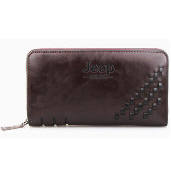 Harga Men's Leather Clutch Handbag Wallet Large Capacity Purse (Coffee)