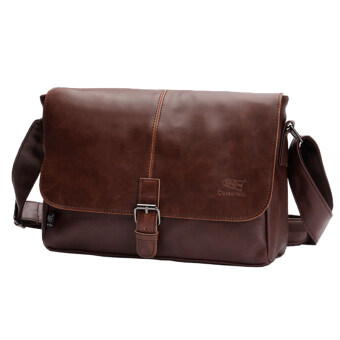 Harga 360DSC Three-box British Style PU Leather Flap-Over Cross Body Bag Messenger Shoulder Bag Mens Bag - Dark Coffee