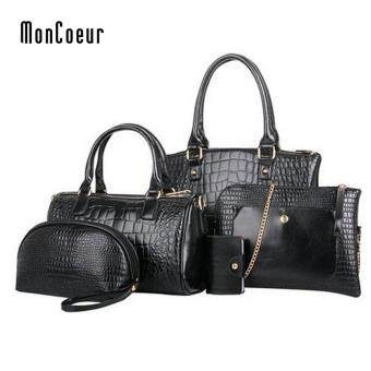 Harga MonCoeur C01 Set of 5 in 1 Luxury Faux Crocodile Leather HandBags (Classic Black)