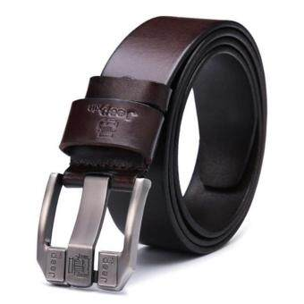 Harga Men's High-Quality Fashion Casual Leather Belts Brown 35MM -- Can Adjust The Length