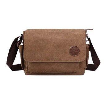 Harga Men Canvas Bag Messenger Shoulder Bag Casual School Bag (Coffee)