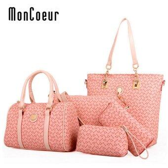 Harga MonCoeur D003 Set of 5 in 1 Woman Premium PU leather Handbag (Pink)