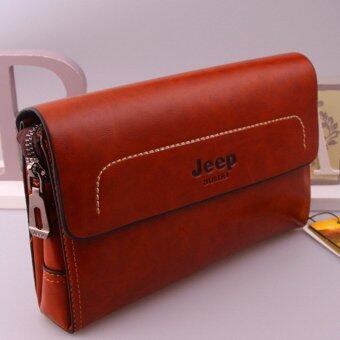 Harga Jeep New Men's Leather Handbag Men Purse Large Capacity Clutch Wallet Business Phone Bag (Camel)