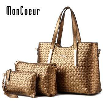 Harga MonCoeur 1001 Set of 3 in 1 Woman Premium PU leather Handbag (Gold)