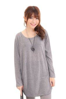 Harga LuvClo (Fit M~3XL) Plain Color Easy Matching Long Sleeves Top (Grey)