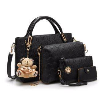 Harga summerland1 Set of 5 in 1 Luxury Faux Crocodile Leather HandBags (black)