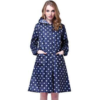 Harga Ajusen Dot Girl Lady Hooded Raincoat Women Outdoor Travel Waterproof Riding Cloth Rain coat for Women Poncho Long Rainwear rain jacket
