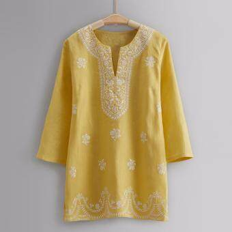 Harga L'Aile Women Lady Long Sleeve Embroidery Blouse Linen Yellow