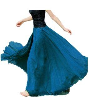 Harga Maxi Long Bohemian Restore Women Shinning Chiffon Long Skirt(Blue)
