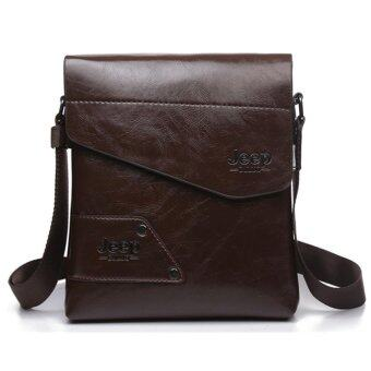 Harga Men Casual Crossbody Bag Business Messenger Bag Shoulder Bag Single Shoulder Leather Bag (Brown)