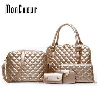 Harga MonCoeur D111 Set 5 in 1 Europe Design PU leather Handbag Set (Gold)