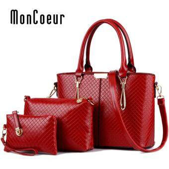 Harga MonCoeur 1003 Set of 3 in 1 Classic Premium PU leather Handbag (Red)