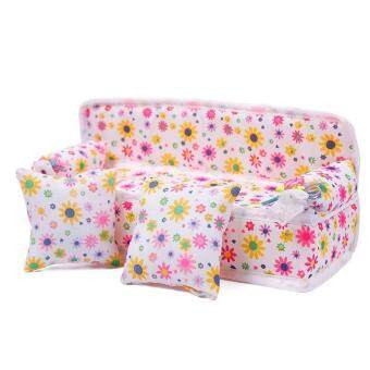 Harga BUYINCOINS Mini Furniture Flower Sofa Couch +2 Cushions For Barbie Doll House Accessories - Intl