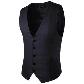 Harga Stylish Men Jacket Suit Vest Slim Fit Vest Casual Business Formal Vest Waistcoat (Black)