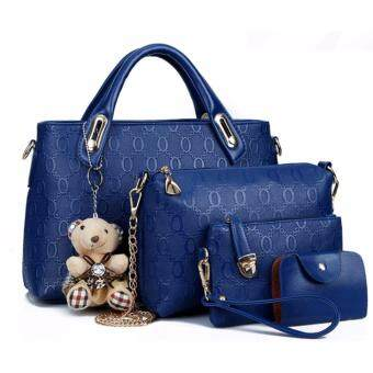Harga Sweety Girl Korean Leather 4 in 1 Bags Women Fashion Leather 4 in 1 Bag Luxury Faux Crocodile Leather HandBag High Quality (Blue)