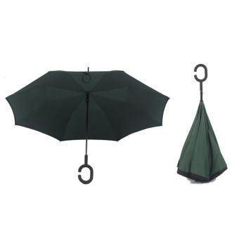 Harga 4CONNECT High Quality Unique Inverted Inside-Out Umbrella With C-Hook Handle - DARK GREEN