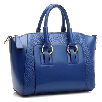 Harga Kstyle Faux Crocodile Leather Handbags (Dark Blue)