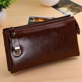 Harga Men's Wallet Zipper Casual Purse Korean Business Hand Bag Youth Large Capacity Clutch (Coffee)