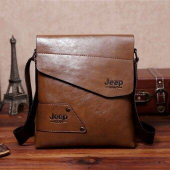 Harga Men Casual Crossbody Bag Business Messenger Bag Shoulder Bag Single Shoulder Leather Bag (Khaki)