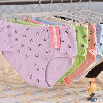 Harga 6pcs!Cute girl big panty waisted heart-shaped low quality cotton underwear explosion lady underwear wholesale