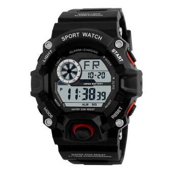 Harga Skmei 1019 Digital Watch Men Camouflage Military Army Wrist Watch (Black Red)