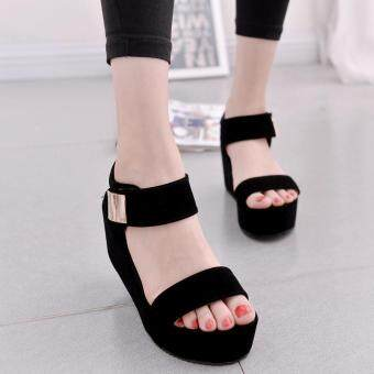 Harga Women Flat High Wedge Sandals Shoes Ankle Strap Velcro Platform Shoes Chunky Creepers
