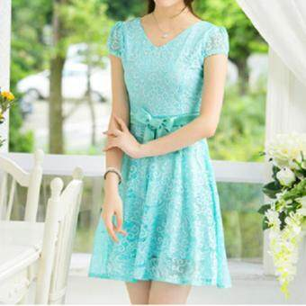 Harga JYS Fashion Short Sleeves V Neck Mid Waist Lace Princess Midi Dress (Sky Blue)