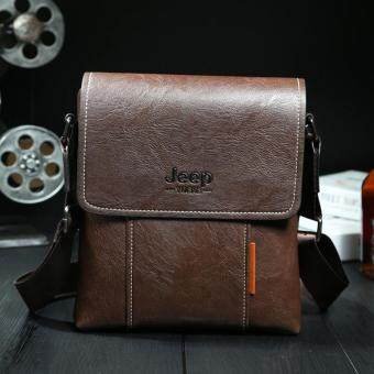 Harga JEEP Men's Messenger Bag Single Shoulder Bag Leather Casual Satchel (Brown)