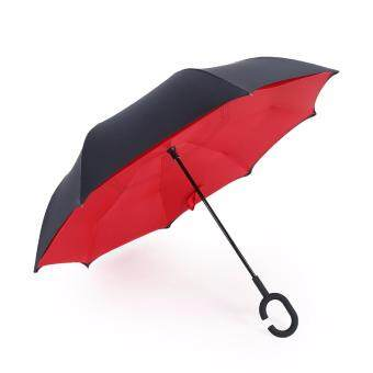 Harga Inverted Inside-Out Umbrella With C-Hook Handle - Red