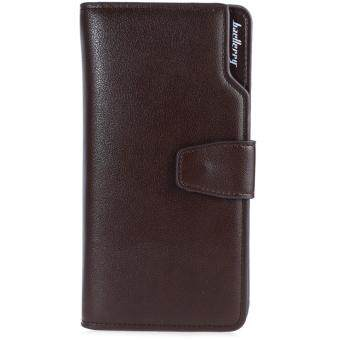 Harga Baellerry Three-folded Long Wallet Leather Multifunctional Credit Card Purse for Men(Coffee)